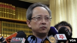 台湾外交部发言人夏季昌(美国之音申华拍摄)
