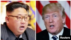 FILE - A combination photo shows North Korean leader Kim Jong Un in Pyongyang, North Korea and U.S. President Donald Trump in Palm Beach, Florida.