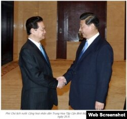Thủ tướng và Phó Chủ tịch Trung Quốc Tập Cận Bình tại Nam Ninh ngày 20/9/2011 (Ảnh: Screenshot)