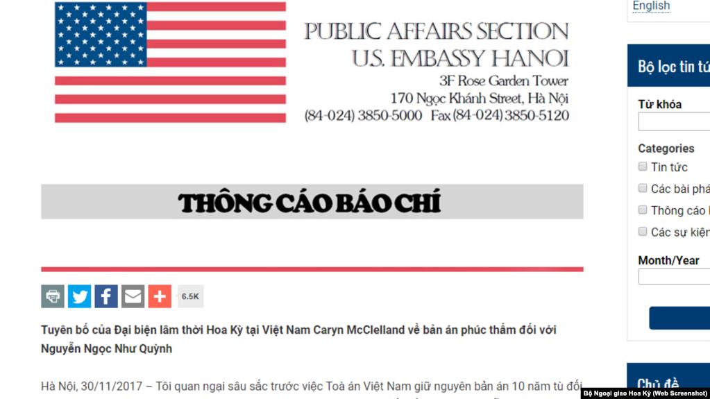 Thông cáo báo chí của Đại sứ quán Hoa Kỳ về bản án phúc thẩm blogger Mẹ Nấm ngày 30/11/2017.