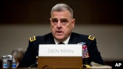 Jenderal Mark Milley memberikan keterangan di depan Komisi Angkatan Bersenjata Senat AS hari Kamis (11/7).