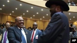 Sudan's President Omar al-Bashir, left, greets South Sudan's President Salva Kiir at the African Union summit in Addis Ababa, Ethiopia. (file)
