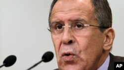 Russian Foreign Minister Sergey Lavrov speaks at a news conference in Moscow.
