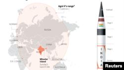 Misil Agni-V India berjarak tempuh 5.800 km sehingga mampu menjangkau seluruh daratan China (foto: ilustrasi).