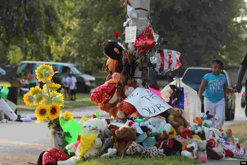 Decenas de rosas, fotos, globos y recuerdos de todo tipo adornan la calle Canfield Dr. en donde murió el joven Michael Brown. [Foto: Gesell Tobias, VOA]