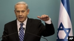 Israeli Prime Minister Benjamin Netanyahu speaks during press conference Oct. 9, 2012
