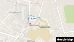 A Google Maps screenshot of NOVA Firearms, next to Franklin Sherman Elementary School
