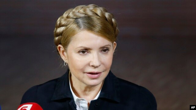Former Ukrainian prime minister and presidential hopeful Yulia Tymoshenko speaks during a press conference in Donetsk, eastern Ukraine, April 22, 2014.