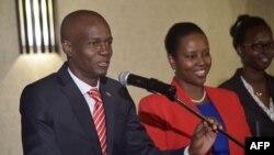 Prezidan eli Ayiti a, Jovenel Moise (PHTK) nan moman li tap fè yon diskou nan Petyon-Vil, tou pre kapital la Pòtoprens, Ayiti, 3 janvye 2017. Foto: AFP/ HECTOR RETAMAL
