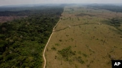 FILE - A deforested area is seen near Novo Progresso in Brazil's northern state of Para, Sept. 15, 2009.