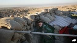 12일 이라크 신자르 지역에서 쿠르드 군 민병대가 탈환 작전을 수행하고 있다.