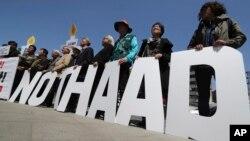 2017年4月26日,抗議人士在美國駐南韓首爾大使館前反對在南韓部署薩德系統。