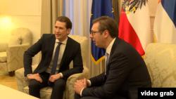 Ausitrijski kancelar Sebastijan Kurc i predsednik Srbije Aleksandar Vučić tokom susreta u Beogradu, 5. novembra 2018.