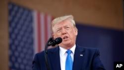 美国总统特朗普2019年6月6日在法国诺曼底发表讲话。