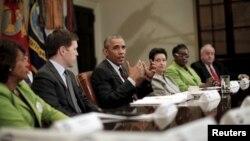 Presiden AS Barack Obama berbicara kepada media di Gedung Putih, Rabu (22/7).
