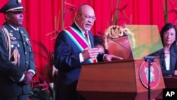 Presiden Suriname Desi Bouterse menyampaikan pidato pada pelantikan untuk masa jabatan kedua di Paramaribo, 12 Agustus 2015 (foto: dok).