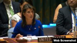 美國駐聯合國大使黑利在安理會討論緬甸問題的會議上發言(美國駐聯合國代表團網站截圖)