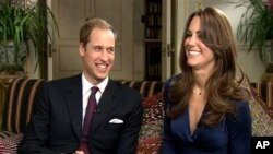 Britain's Prince William and Kate Middleton during a television interview recorded and aired on the day they announced their engagement 16 Nov. 2010.