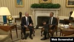 美國總統奧巴馬在白宮會見以色列總理內塔尼亞胡。