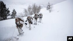 A group of U.S. Marines walk along a snow-covered trail during their advanced cold-weather training at the Marine Corps Mountain Warfare Training Center, Feb. 10, 2019, in Bridgeport, California.