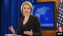 FILE - State Department Spokesperson Heather Nauert speaks during a briefing at the State Department in Washington, Nov. 30, 2017.