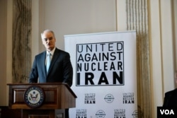 هیو داگان در مراسم گروه اتحاد علیه ایران هستهای