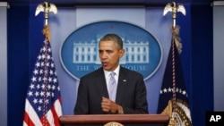 Predsednik Barak Obama daje izjavu o Ukrajini na brifingu za novinare u Beloj kući, 28. februara 2014.