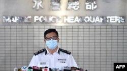香港警务处处长邓炳强在水警总部对媒体讲话。(2020年8月27日)