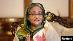 孟加拉国总理哈希娜1月6日在达卡的记者会上