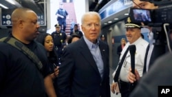 Former Vice President and Democratic presidential candidate Joe Biden arrives at the Wilmington train station Thursday April 25, 2019 in Wilmington, Delaware. Biden announced his candidacy for president via video on Thursday morning. (AP Photo/Matt Slocum