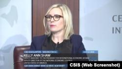 Келли Энн Шоу во время панельной дискуссии, организованной на саммите G20 в Осаке Центром стратегических и международных исследований (CSIS) 17 июля 2019 года