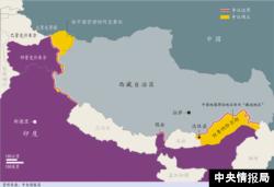 中国与印度边界示意图,红线为两国有争议边界,黄色区域为有争议领土。