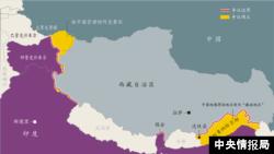 中國與印度邊界示意圖,紅線為兩國有爭議邊界,黃色區域為有爭議領土