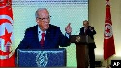 Le président tunisien Beji Caid Essebsi prononce un discours à Tunis, le 10 mai 2017.