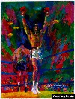 រូបគំនូរបង្ហាញលោក Muhammad Ali និងកីឡាករ Sonny Liston កាលពីឆ្នាំ១៩៦៥។ (រូបថតផ្តល់ឲ្យដោយ LeRoy Neiman Foundation)