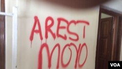 Tajamuka members left a lot of graffiti outside Prof. Jonathan Moyo's office.