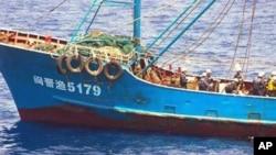 """2010年9月在钓鱼岛海域与日本海上保安厅舰只相撞的中国渔船""""闽晋渔5179号"""""""