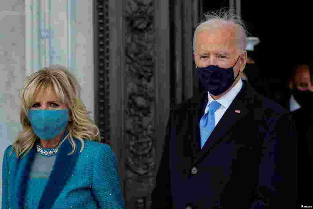 U.S. President Joe Biden and first lady Jill Biden, depart after the 59th Presidential Inauguration in Washington, DC, U.S. January 20, 2021. Melina Mara/Pool via REUTERS