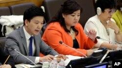 지난해 4월 미국 뉴욕 유엔본부에서 북한자유주간 행사의 일환으로 북한의 인권 유린을 고발하는 탈북자들의 기자회견이 열렸다. (자료사진)