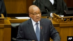 South African president Jacob Zuma opens the South African Parliament as he speaks in Cape Town, February 14, 2013.