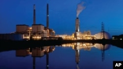 Night shot of Brandon Shores Power Plant, a 1,273 megawatt coal-fired power plant in Anne Arundel County, Maryland.