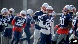 Los Patriots de Nueva Inglaterra durante uno de sus entrenamientos de cara a su participación este domingo 5 de febrero en el Super Bowl.