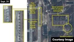 지난 20일 시리아 라타키아 공군 기지의 위성 사진. 러시아 전투기들이 표시되어 있다.