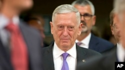 FILE - U.S. Secretary for Defense Jim Mattis arrives for a meeting of NATO defense ministers at NATO headquarters in Brussels on June 29, 2017.