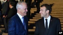 澳大利亚总理特恩布尔在悉尼歌剧院会晤到访的法国总统马克龙 (2018年5月1日)