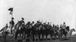 Cavalry soldiers line up at Fort Sam Houston, Texas