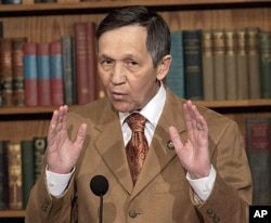 FILE - Rep. Dennis Kucinich, D-Ohio speaks during a news conference on Capitol Hill.