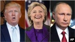 当选总统川普(左),前国务卿克林顿和俄罗斯总统普京(右)