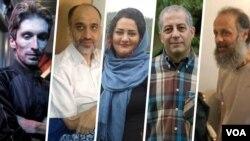 از راست: اکبر گنجی، هدی صابر، آتنا دائمی، مهدی خزعلی و آرش صادقی