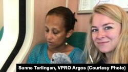 Journalist Sanne Terlingen working on radio documentary on women in Eritrea/ Photo: Sanne Terlingen / VPRO Argos